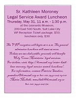 Inaugural Sr. Kathleen Moroney Legal Service Award Luncheon is May 31
