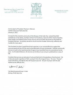 Press Release: Roman Catholic Diocese of Salt Lake City Bishop Solis on the Death of LDS President Thomas S. Monson