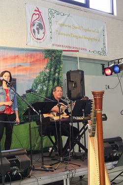 Bishop Solis plays for school fundraiser