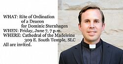 Seminarian to be ordained a transitional deacon