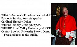 Religious freedom to be topic of cardinal's address at Provo Freedom Festival